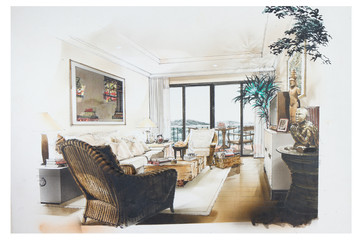 sketch of an interior living room