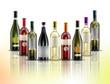 composizione vino varie bottiglie su sfondo