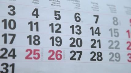 Terminkalender mit der Weihnachtszeit