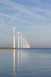 Dutch offshore wind turbines in a calm sea