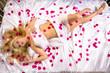 Mädchen mit Rosenblättern