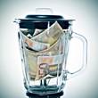 euro bills in a blender