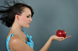 woman with red apple