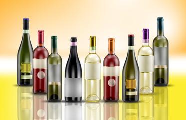 bottiglie di vino su sfondo giallo arancio