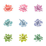 Collection of multicolored birds. Vector logo template set.