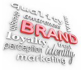 Fototapety Brand Marketing Words Awareness Loyalty Branding