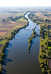 aerial view of Odra river canal lock near Opole city