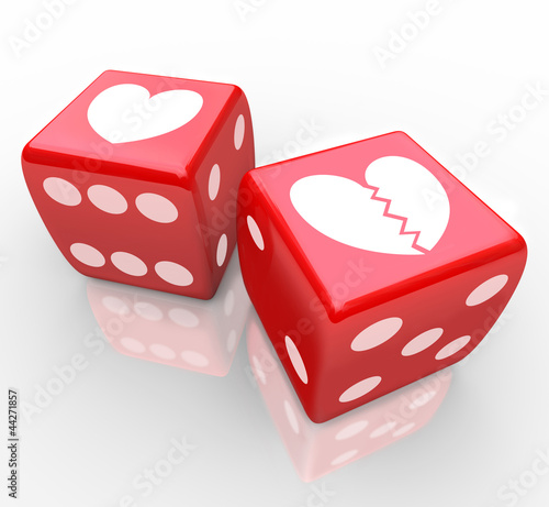 Broken Heart on Dice Risking Love Relatioship Hearts