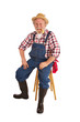 Happy old farmer with corncob pipe sits on stool.