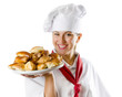 Young woman chef holding a plate with pies