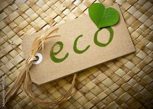 eco friendly label written onto a cardboard