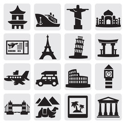 travel and landmarks set