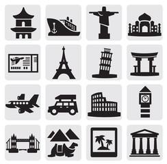 travel and landmarks set