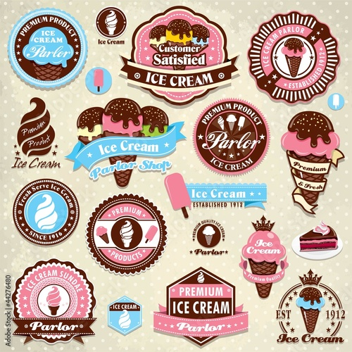 Vintage ice cream label set template