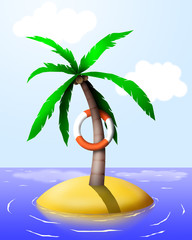 Palm tree on a tropical island