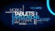 Tablets apps software web tablet tag cloud animation