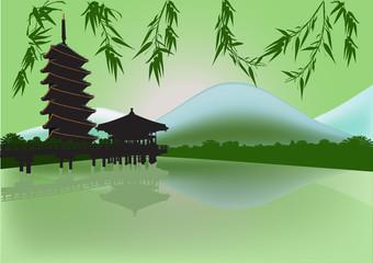 pagoda near mountain lake