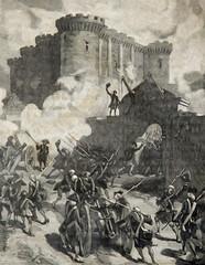 prise de la Bastille Paris 1789, gravure Chovin vers 1890