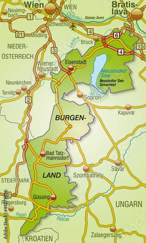 Autobahnkarte des Kantons Burgenland mit Umgebung