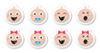 Baby boy, baby girl face - crying, with soother, smile icons