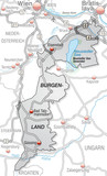 Verkehrskarte des Kantons Burgenland mit Umland