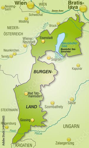 Übersichtskarte des Kantons Burgenland mit Nachbarländern