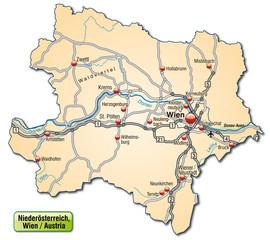Straßenkarte des Kantons Niederösterreich