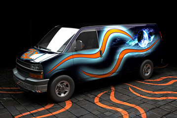 painted van 3d illustration