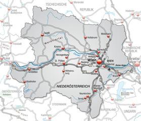 Autobahnkarte des Kantons Niederösterreich mit Umgebung