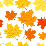 Seamless pattern with autumn maple leaves. Vector EPS 8.