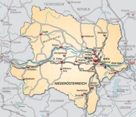 Umgebungskarte des Kantons Niederösterreich mit Verkehrsnetz