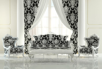 Modern furniture in baroque design interior apartment. Royal sof