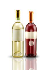 2 bottiglie di vino bianco e rose' su fondo bianco