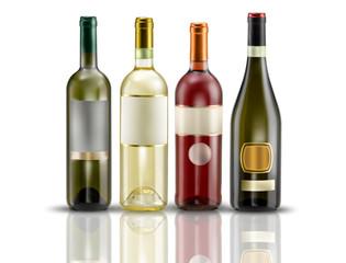 4 bottiglie di vino bianco e spumante su fondo bianco