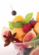 fresh fruits salad and mint