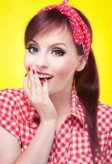 Surprised pin up girl, retro style portrait