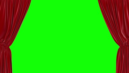 Animation of opening red curtain on green screen