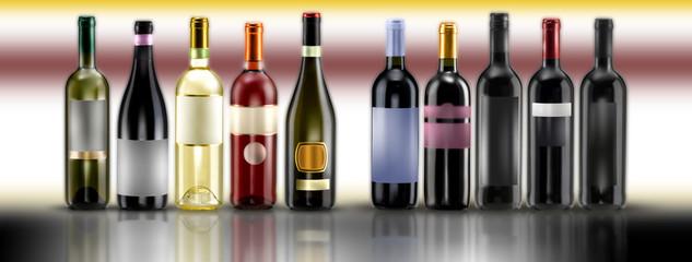 mix bottiglie su fondo a colori