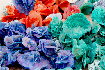 colorful desert roses of the Sahara desert