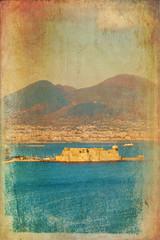 Napoli, veduta di Castel dell'Ovo e del Vesuvio