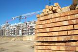 Bauholz auf Baustelle