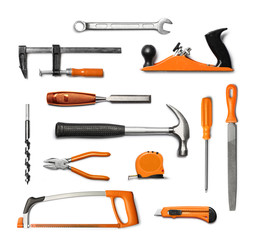 Hand tools kit isolated