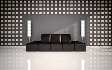 modern interior with black sofa