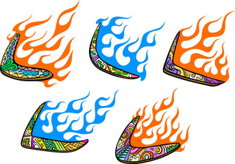 Native Australian Boomerangs with Flames