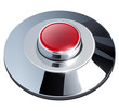 Web button red with metallic, chrome elements, isolated.