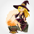 Beautiful witch in the boiler with a potion