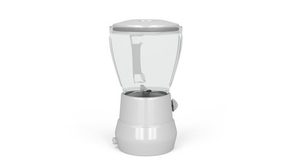 Electric blender rotates on white background