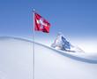 Schweizer Fahne vor Matterhorn