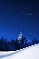 Winternacht beim Matterhorn