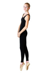 teen girl ballerina dancer in black tricot